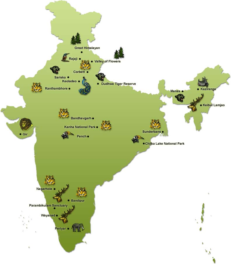 indian-wiildlife-map - Bed & Chaï Blog on golden triangle india map, north india map, northern plain india map, india travel map,
